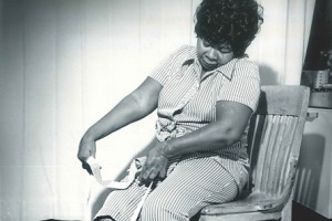 Arthritis Patient Uses Stocking Aid