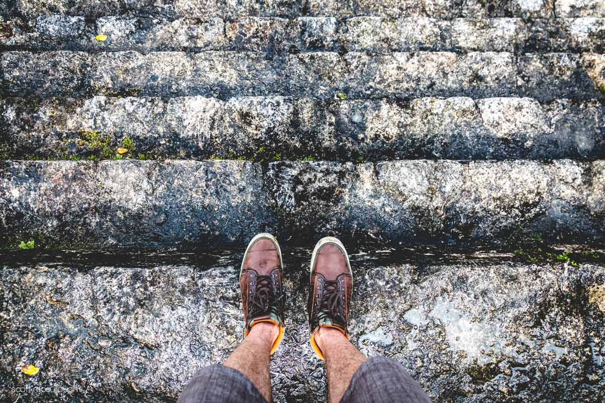 The Belize Trip - standing on the steps on top of ancient Mayan ruins