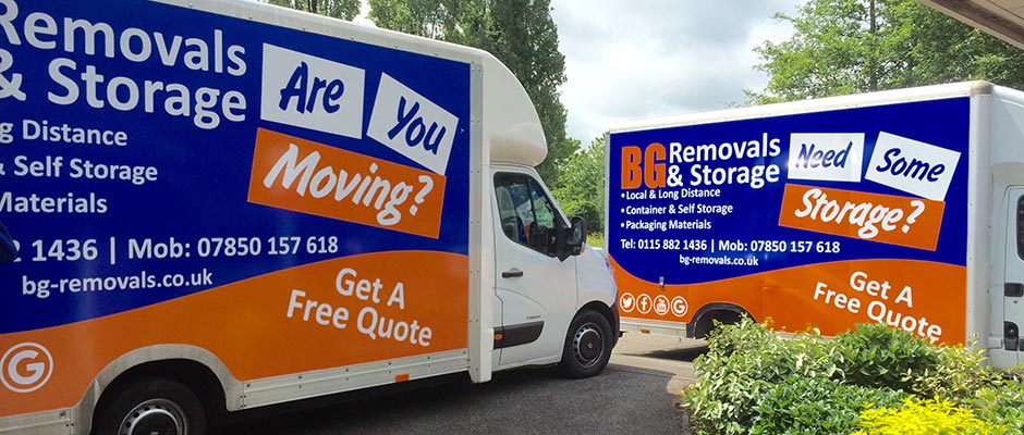 photo of BG removals vans