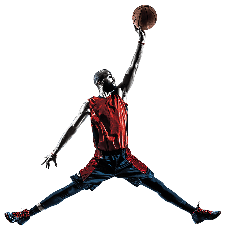Photo of a basketball player dunking