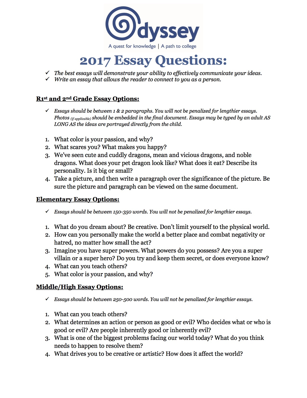 applications parent and student faqs how much does the odyssey
