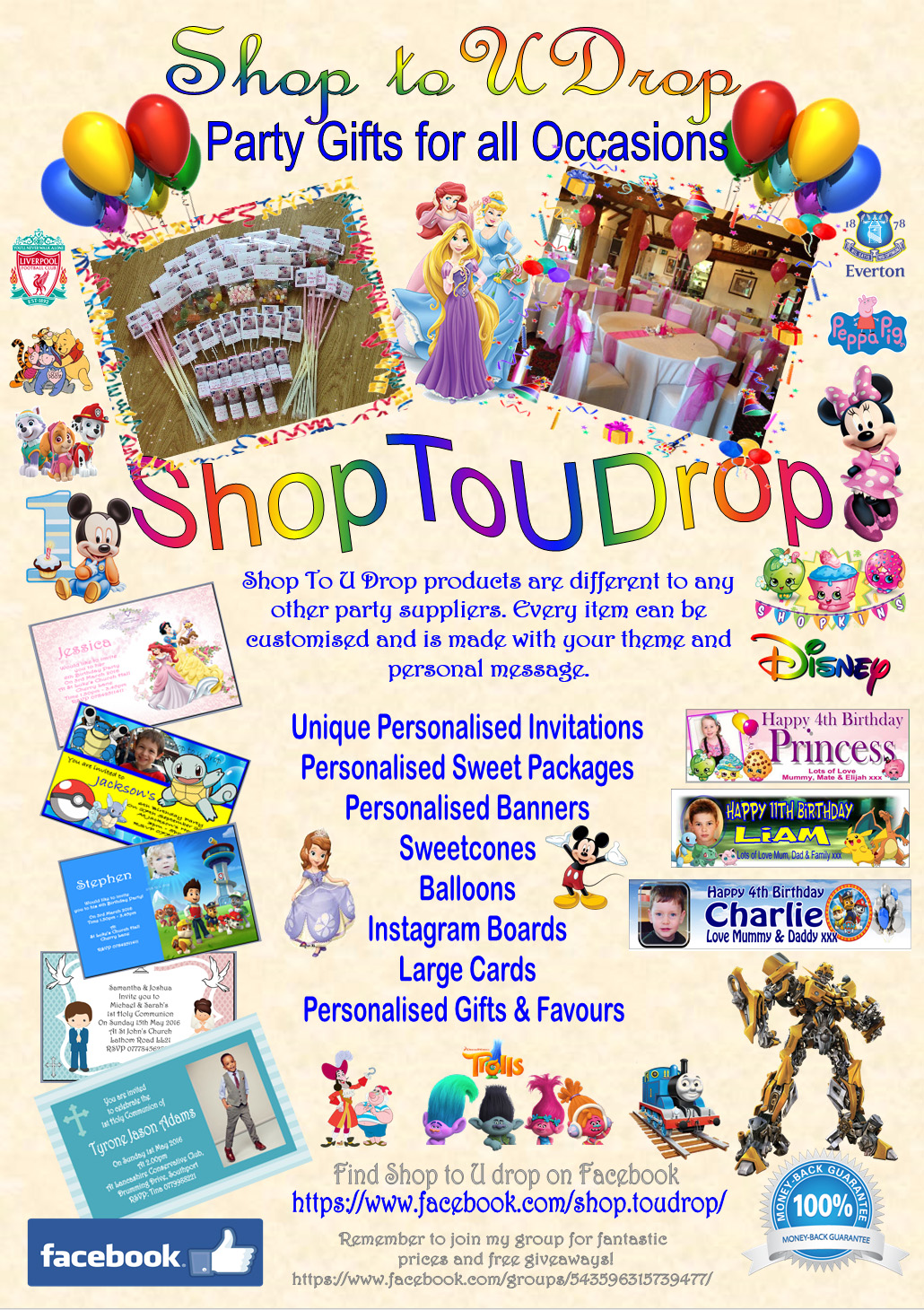 Shop to u drop Custom Personalised Party Suppliers – Everton Birthday Cards