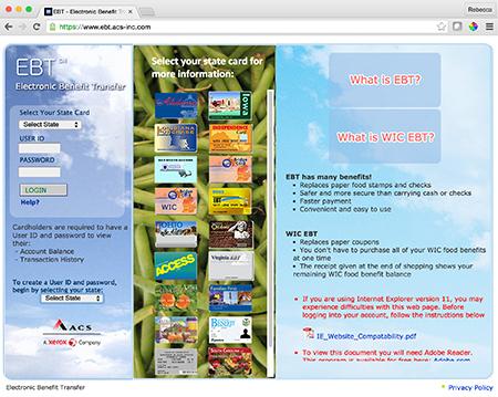 Image of EBT website