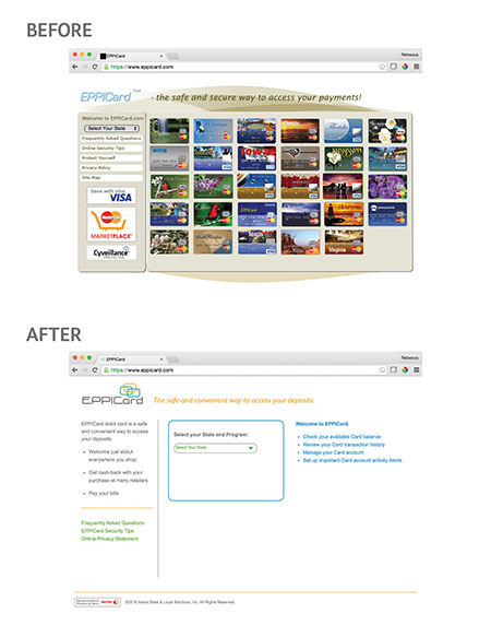 Image of a before and after for a website redesign