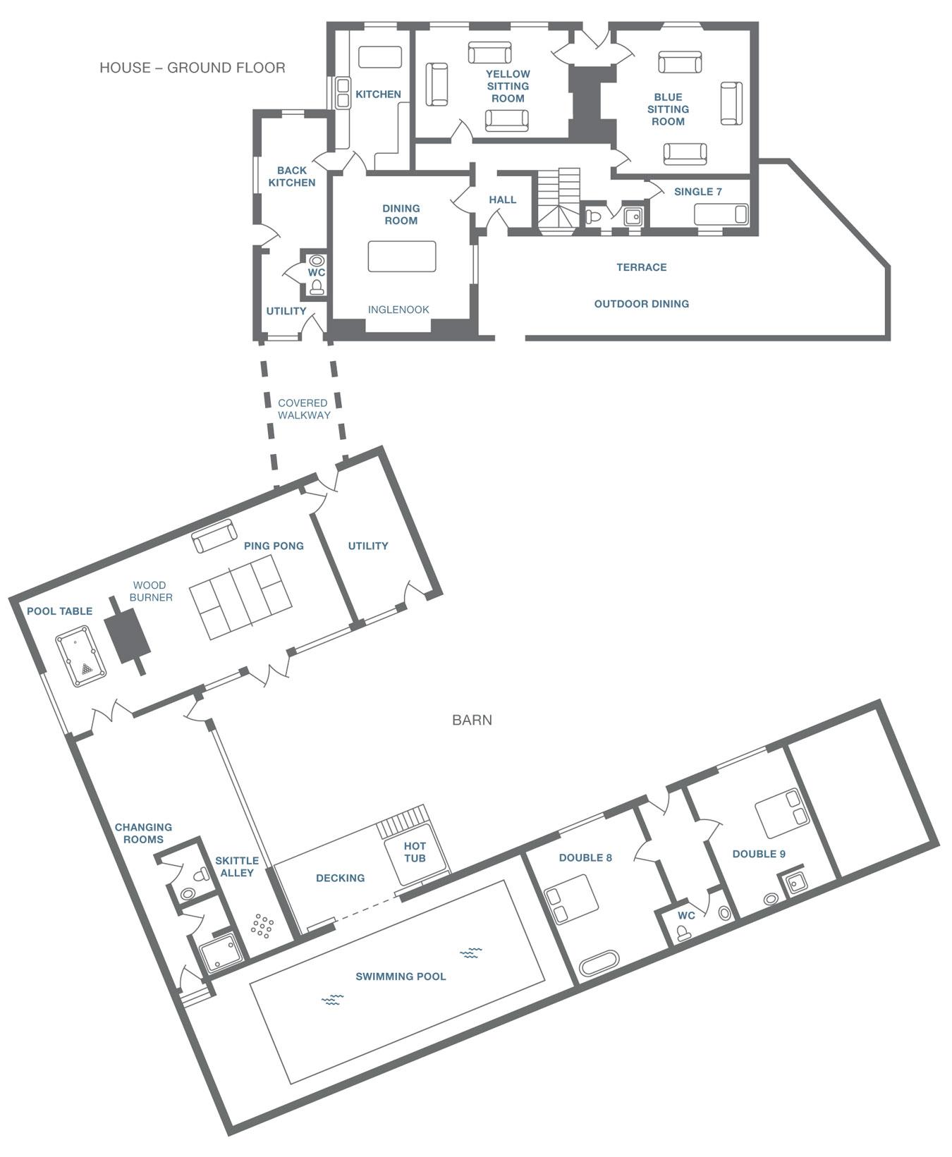 Moorbath Farmhouse plan - ground floor and barn