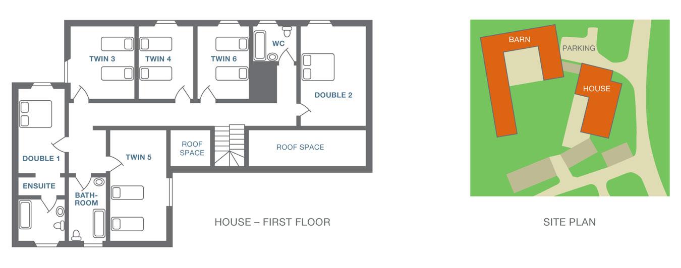 Moorbath Farmhouse plan - first floor and site plan