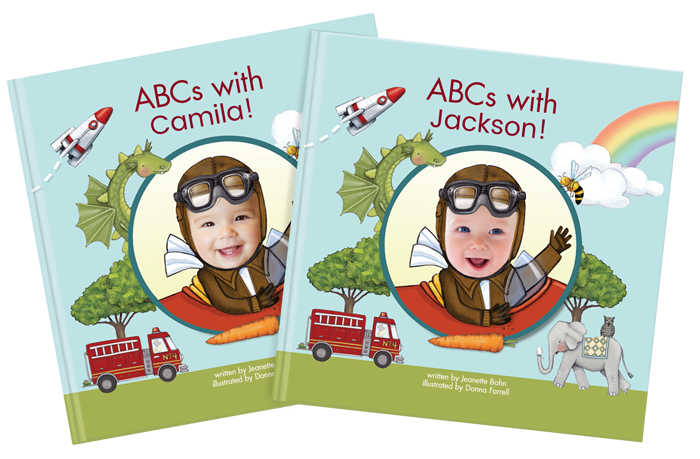Two personalized ABCs with Me book covers, each reflecting a different child's name and face