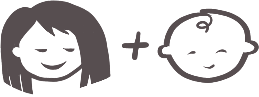 Hand-drawn illustration in dark gray of a woman plus a baby, joined together with a plus symbol