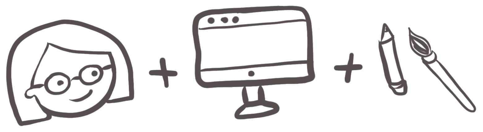 Hand-drawn illustration in dark gray of a woman with glasses plus a computer monitor plus a pencil and paint brush, all joined together with plus symbols in between each drawing