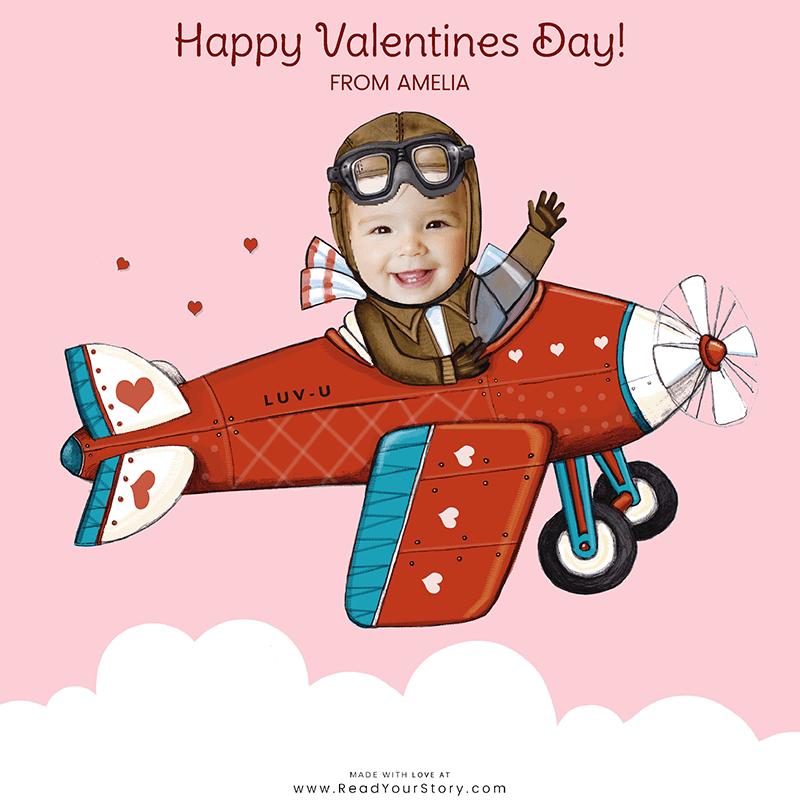 Thumbnail image of a personalized Valentine's Day e-card, featuring a child named Amelia as a pilot flying a plane that says LUV-U on the side, all of which is against a light pink background.  The card is illustrated except for Amelia's face which is a cropped photo of the her face
