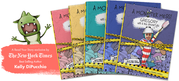 Five personalized book covers of A Monster Mess shown in purple, blue, green, yellow and pink, with each cover featuring a different child's name and face.  Orange banner on the left promoting book as being written by a NY Times bestselling author