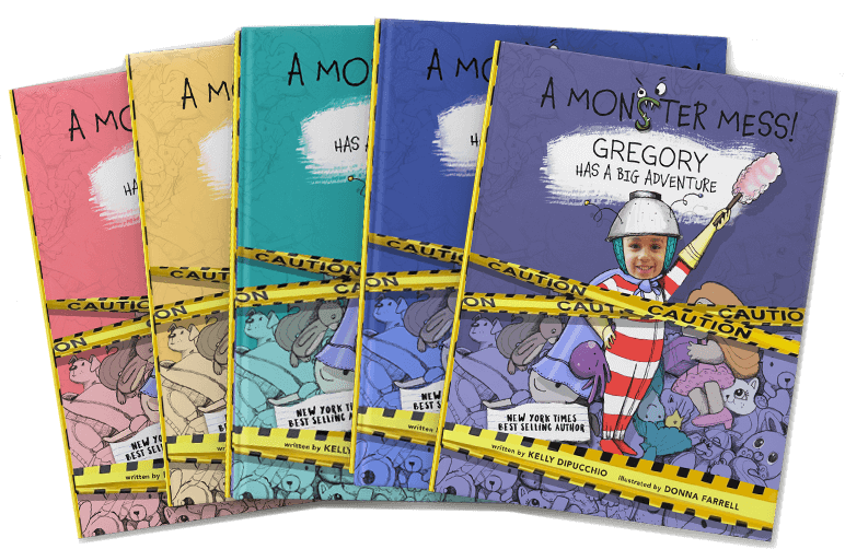 Three personalized book covers of A Monster Mess shown in yellow, pink and blue, with each cover featuring a different child's name and face