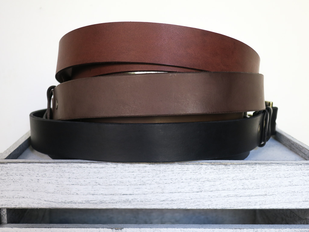 Uphill Designs - Chinle leather belt - all three colors back