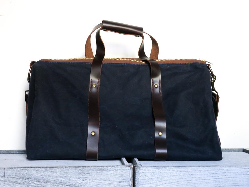 Uphill Designs - Cobalt waxed canvas duffel back - navy blue - back