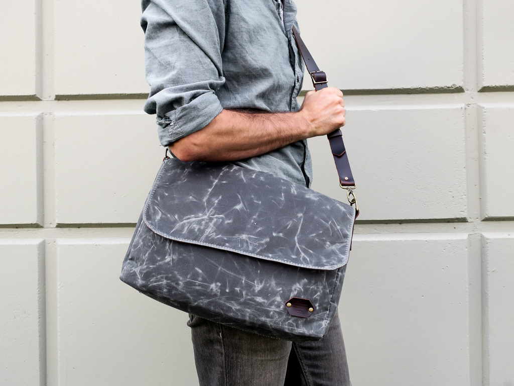 Uphill Designs - waxed canvas Appalachian messenger bag - charcoal worn