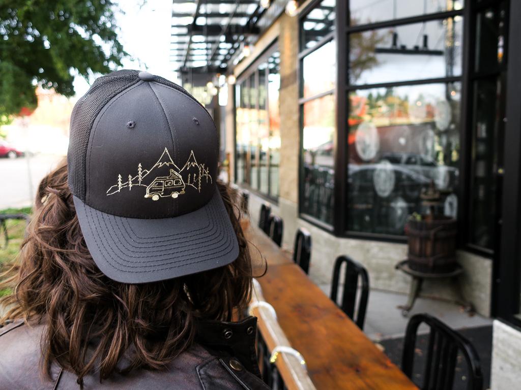 Uphill Designs - trucker hat - dark grey - worn