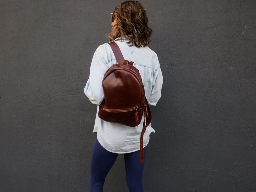 Uphill Designs - Aster leather backpack - sienna brown - worn