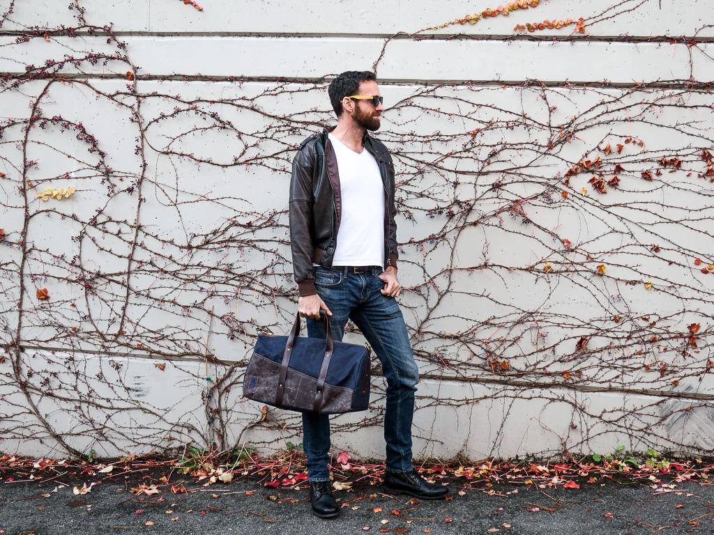 Uphill Designs - Cobalt waxed canvas duffel back - navy blue - worn