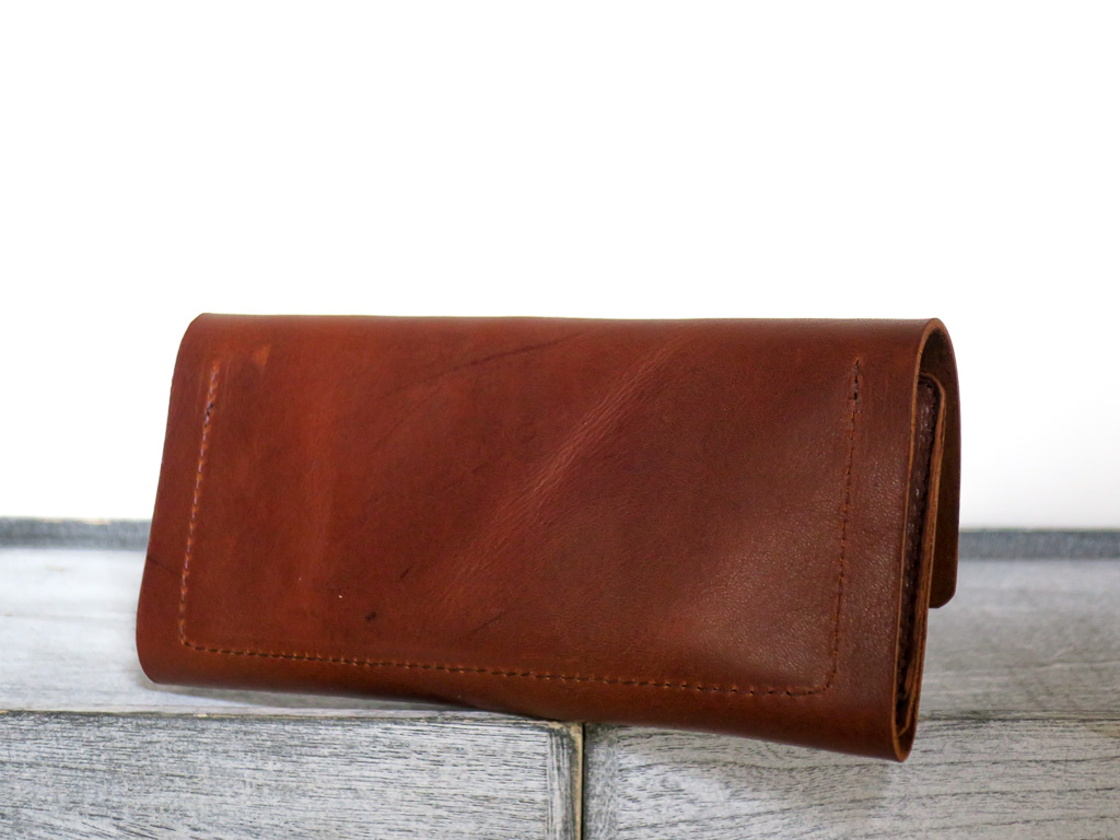 Uphill Designs - Annette leather and wallet clutch - english tan - open