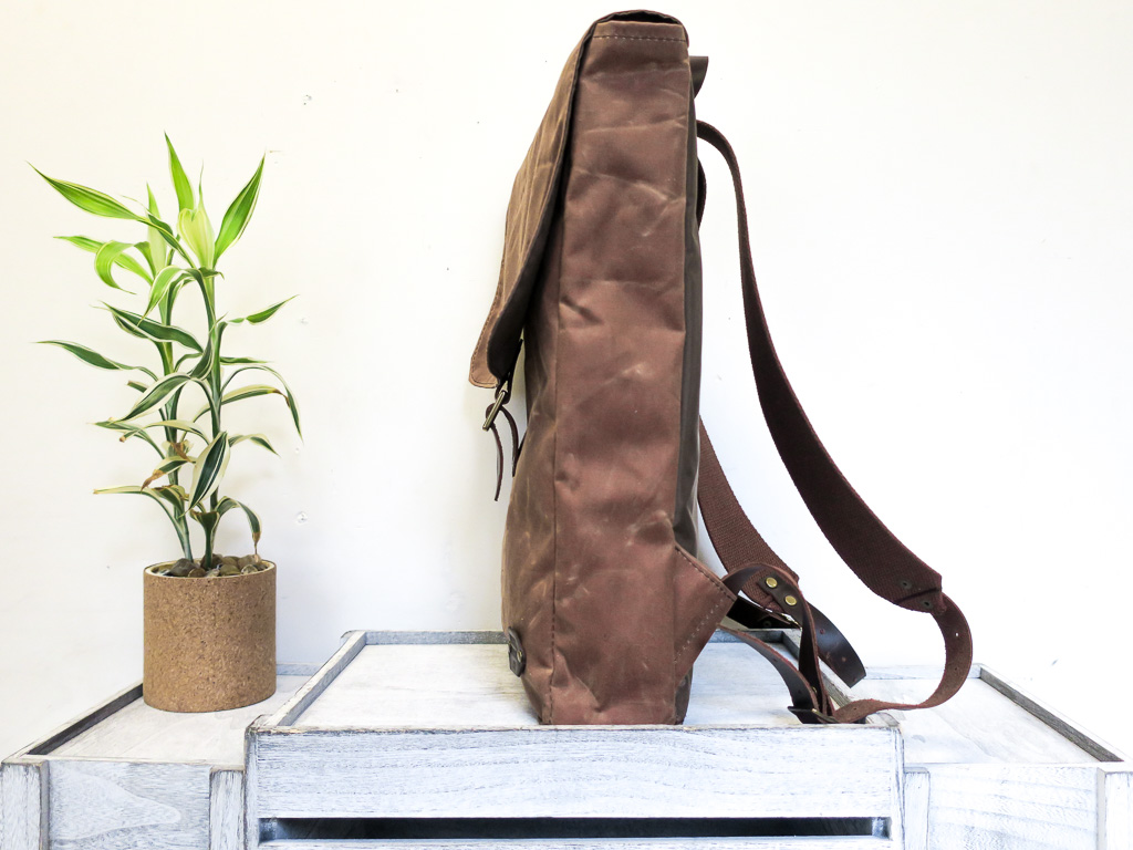 Uphill Designs - Potomac waxed canvas rucksack - earth - side