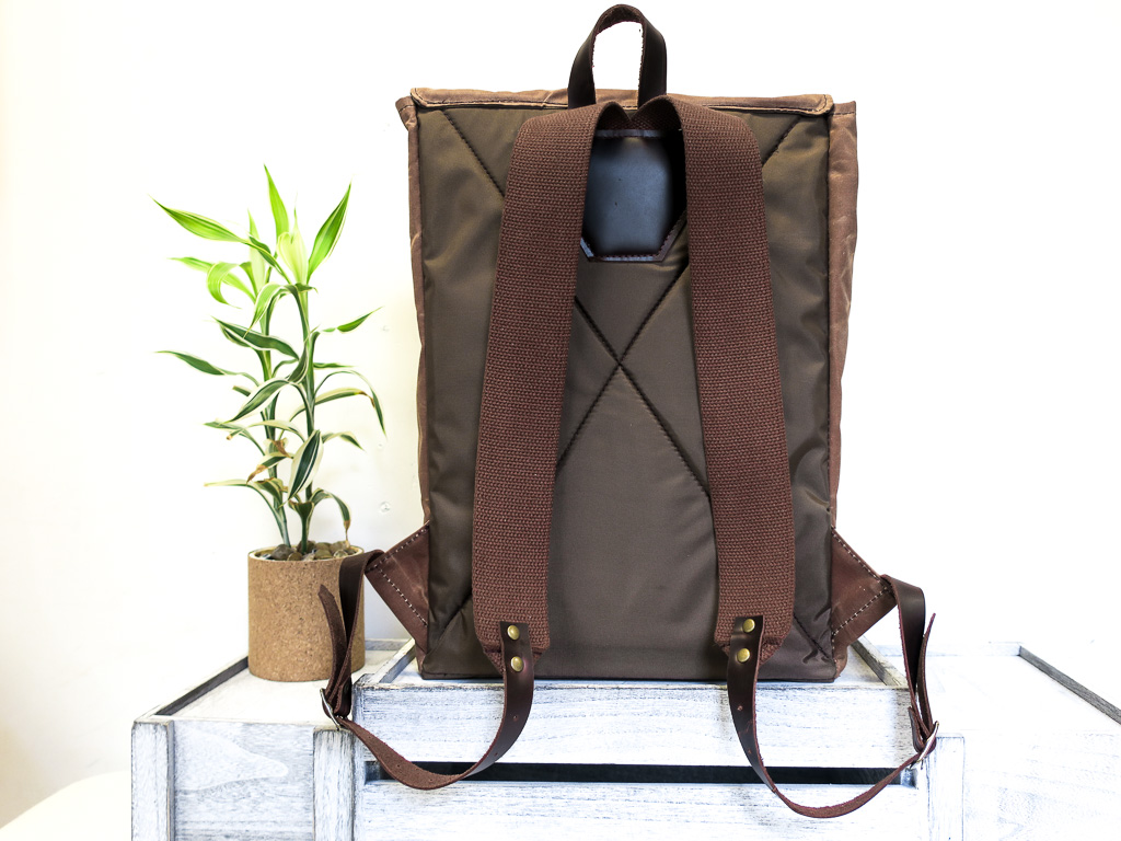 Uphill Designs - Potomac waxed canvas rucksack - earth - back