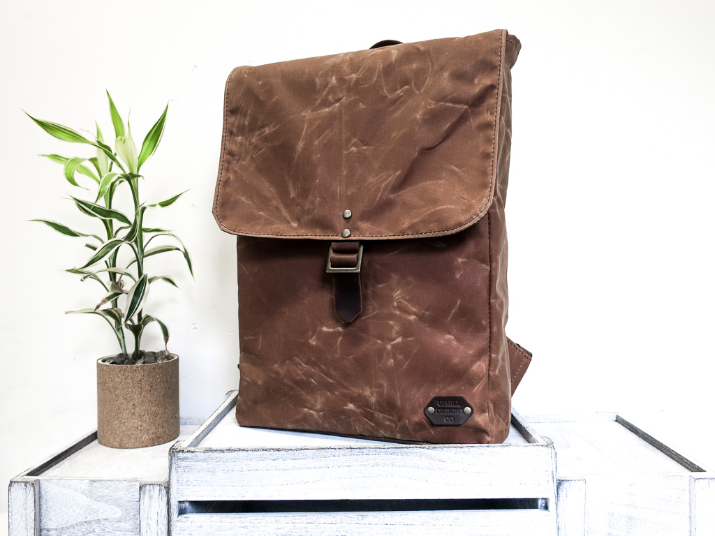 Uphill Designs - Potomac waxed canvas rucksack - earth - front