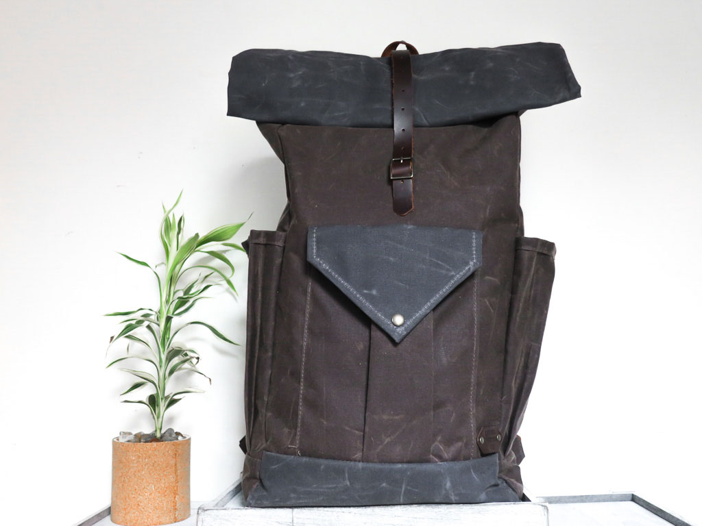 Uphill Designs - large Crest waxed canvas backpack - oak brown - front