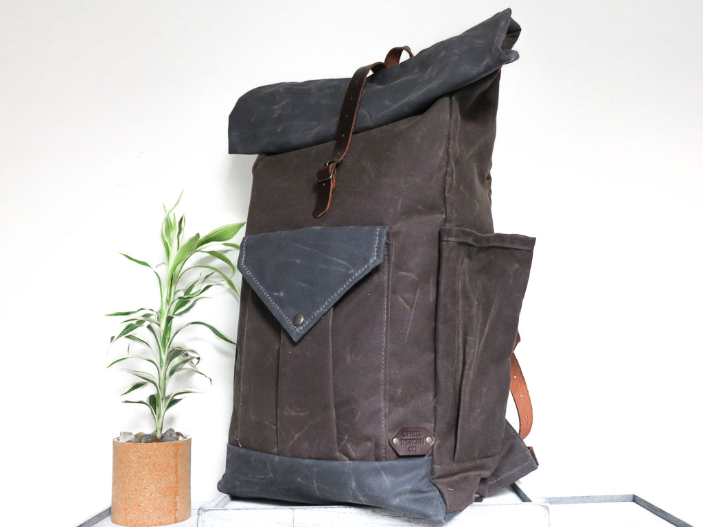 Uphill Designs - large Crest waxed canvas backpack - oak brown - angled front