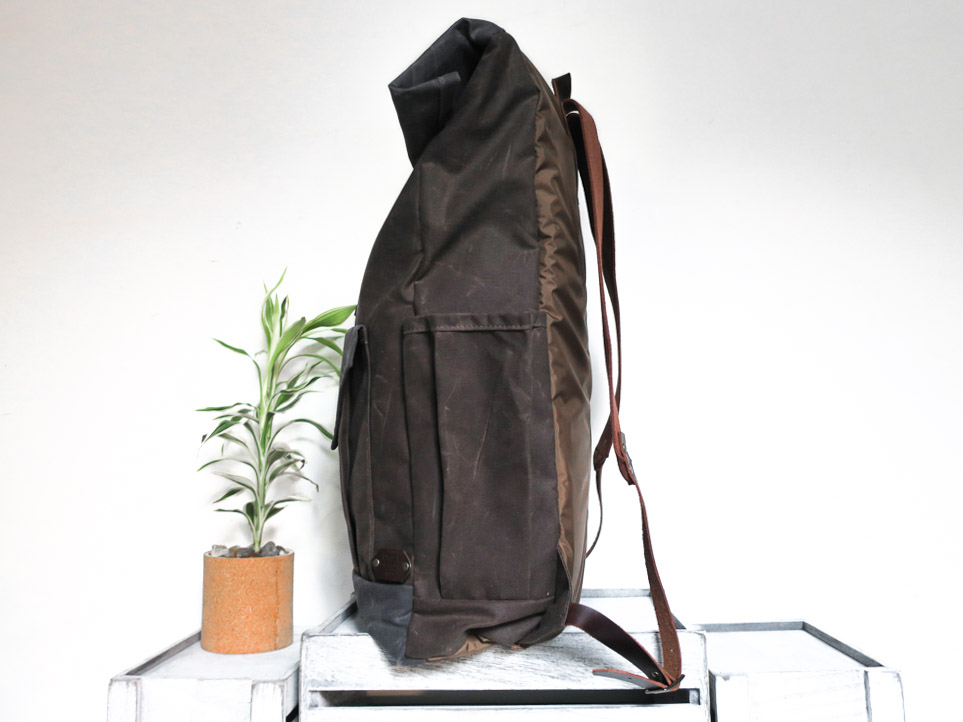 Uphill Designs - large Crest waxed canvas backpack - oak brown - side