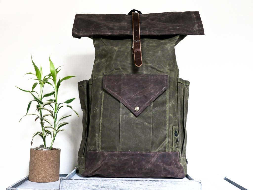 Uphill Designs -large Crest waxed canvas backpack - olive green - front