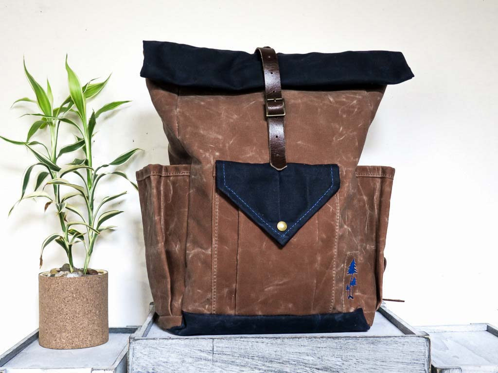 Uphill Designs - small Crest waxed canvas backpack - earth brown - front