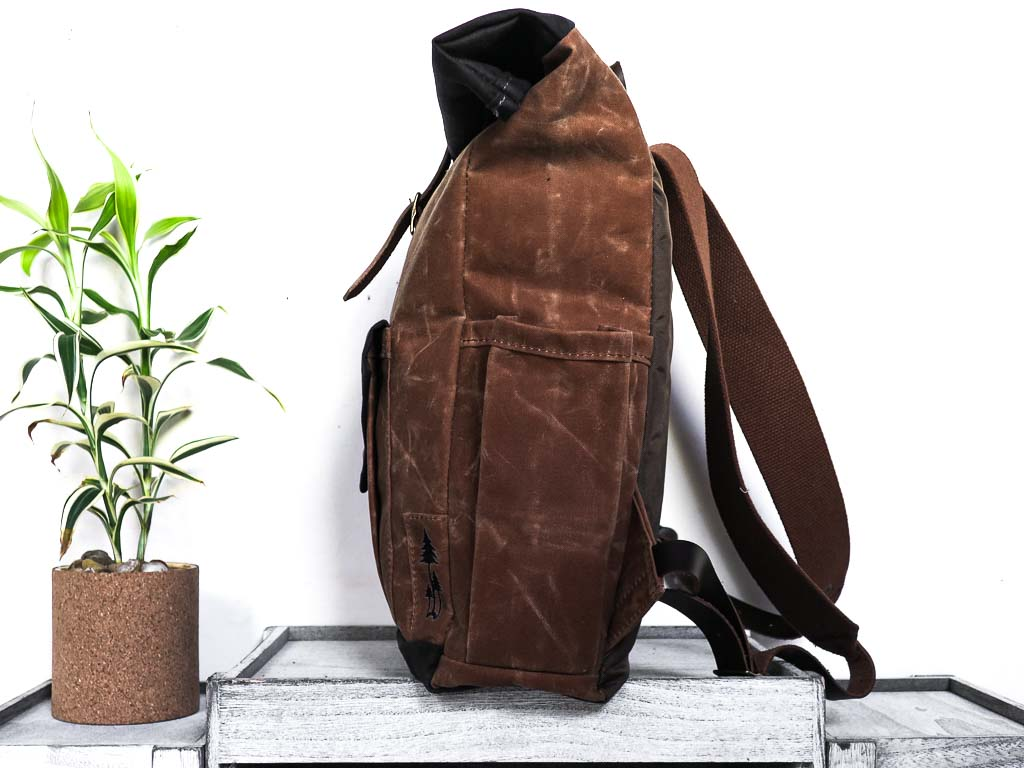 Uphill Designs - small Crest waxed canvas backpack - earth brown - side