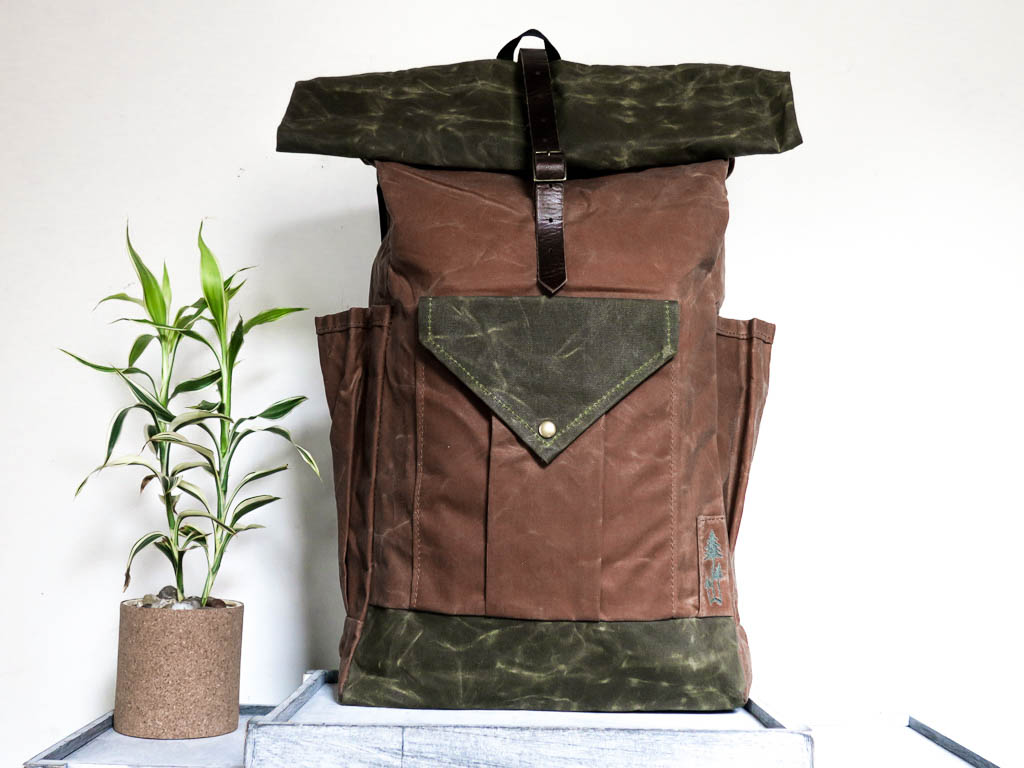 Uphill Designs -large Crest waxed canvas backpack -earth brown - front