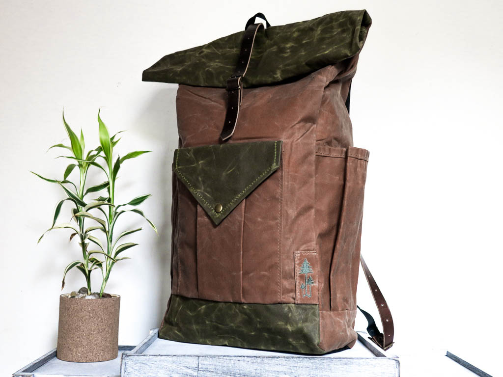 Uphill Designs -large Crest waxed canvas backpack - earth brown - angled front
