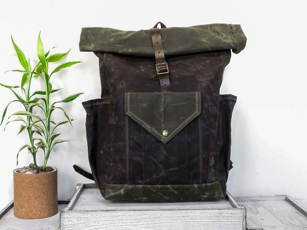 Uphill Designs - waxed canvas Crest Rucksack - oak - front