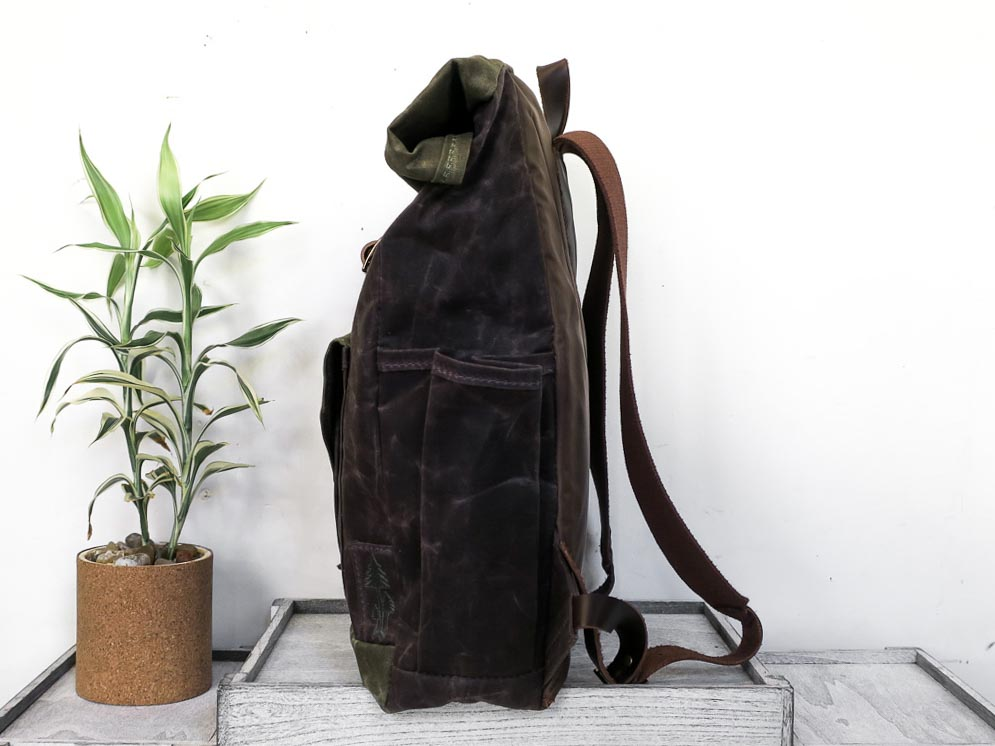 Uphill Designs - waxed canvas Crest Rucksack - oak - side