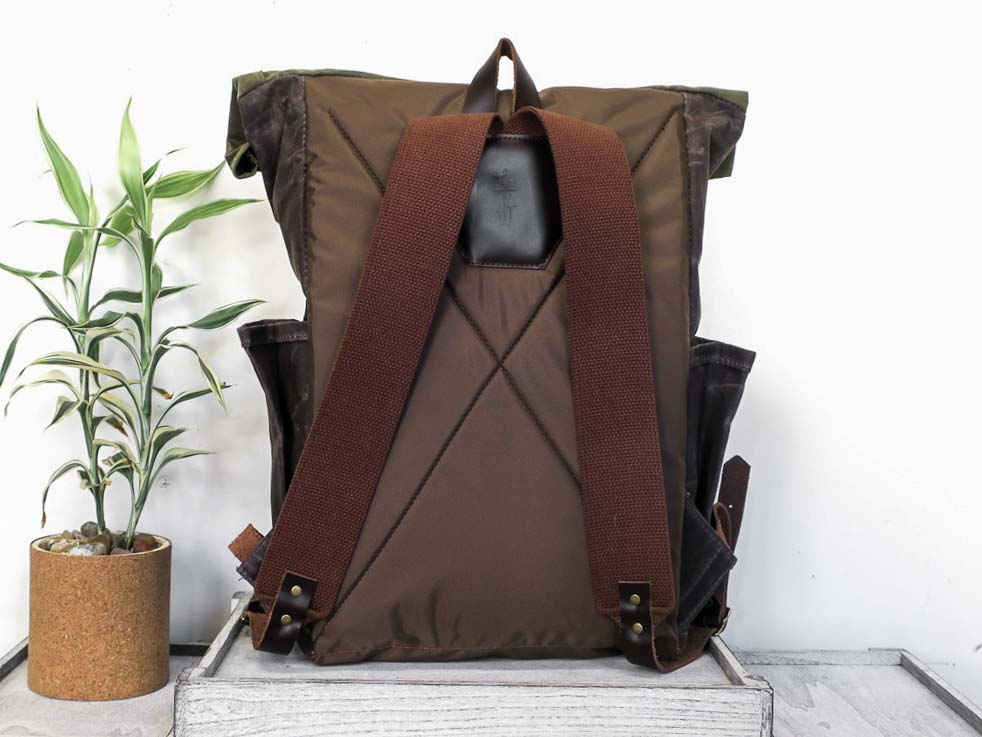 Uphill Designs - waxed canvas Crest Rucksack - oak - back