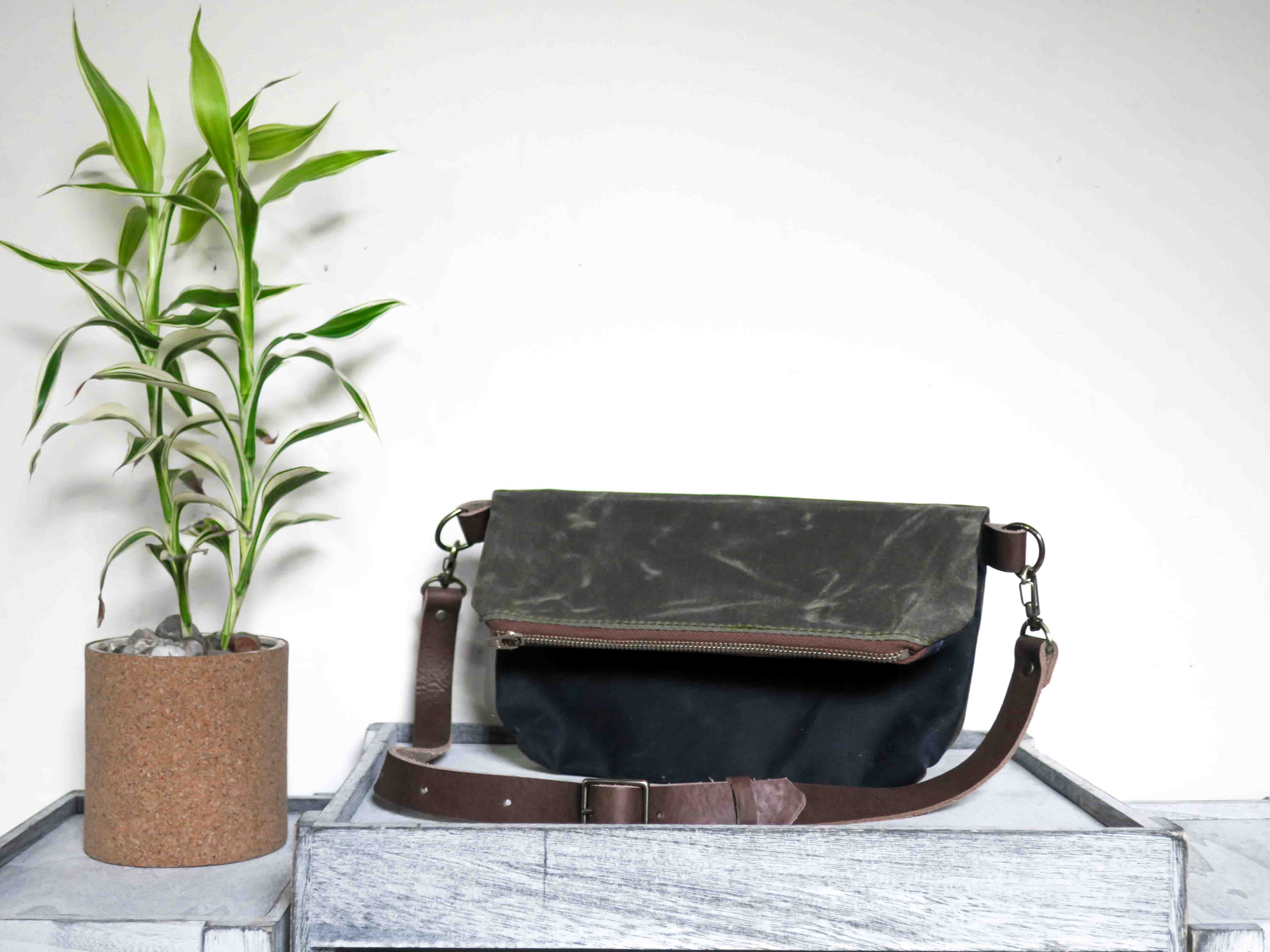 Uphill Designs - Kintla waxed canvas fanny pack / waist bag with strap - navy blue - angled front