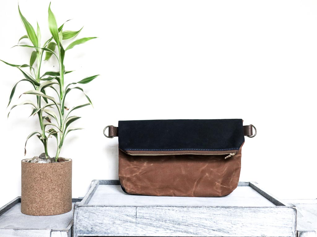 Uphill Designs - Kintla waxed canvas fanny pack / waist bag - earth brown - front