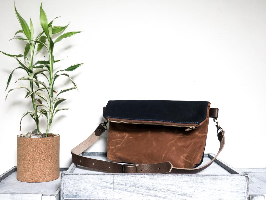 Uphill Designs - Kintla waxed canvas fanny pack / waist bag with strap - earth brown - angled front