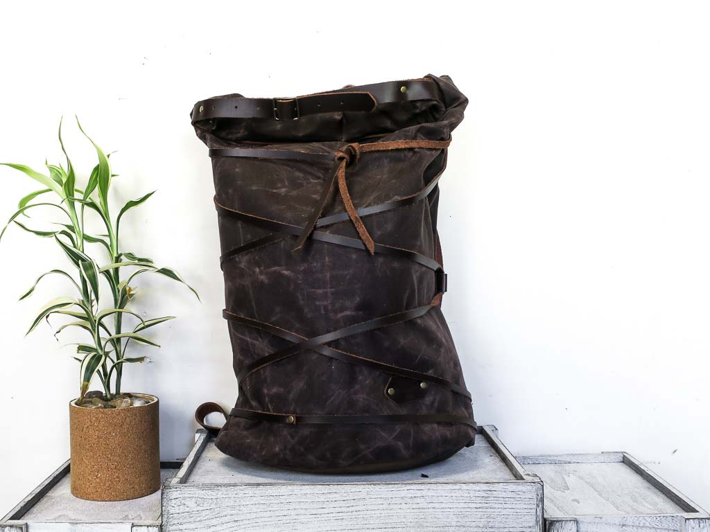 Uphill Designs - waxed canvas Divide rucksack - oak - front