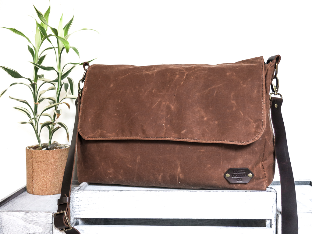 Uphill Designs - Appalachian waxed canvas messenger bag - earth brown - front