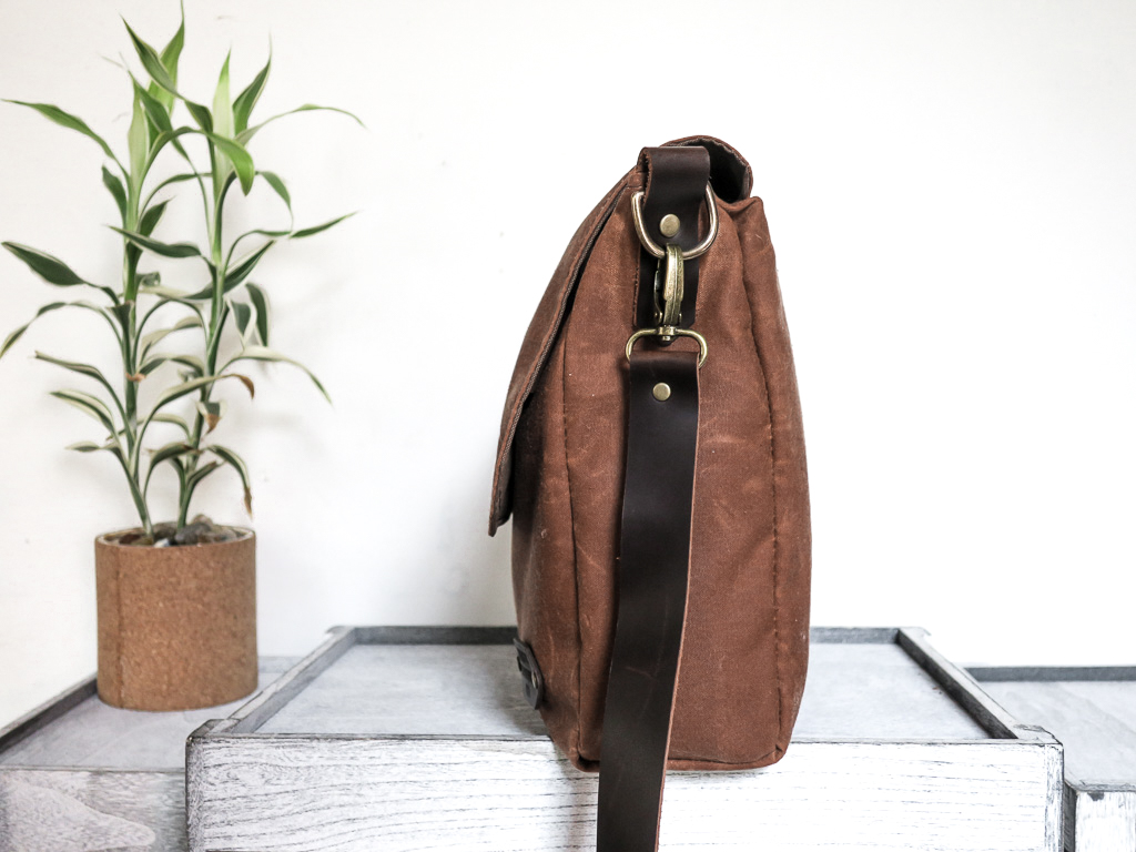 Uphill Designs - Appalachian waxed canvas messenger bag - earth brown - side