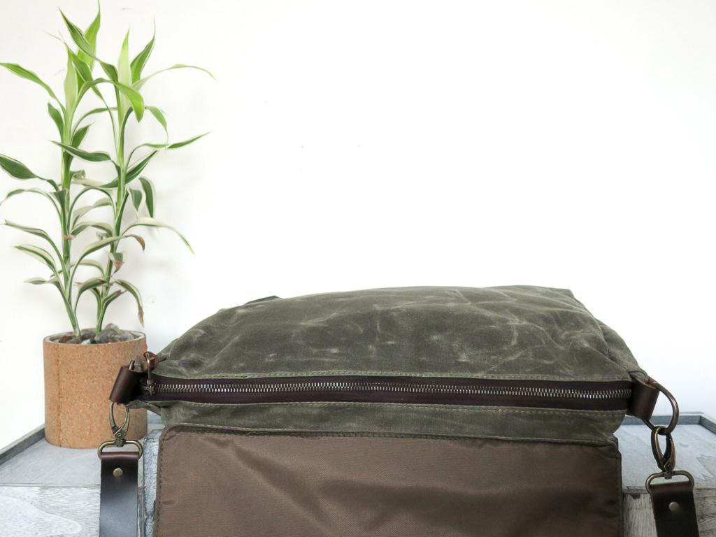 Uphill Designs - Appalachian waxed canvas messenger bag - olive green - zipper
