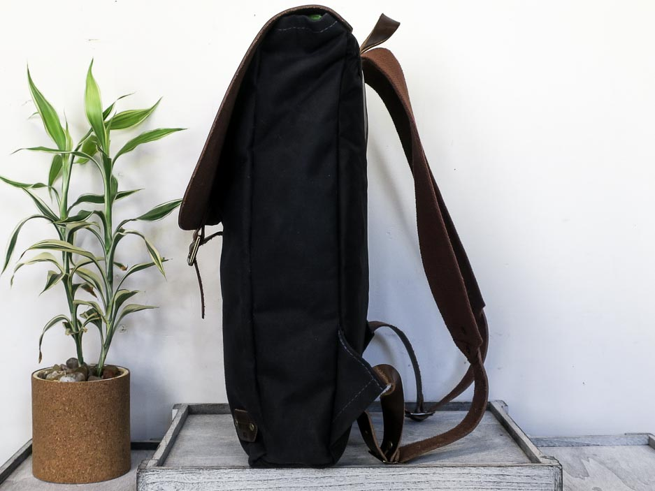 Uphill Designs - Potomac select waxed canvas and leather rucksack - navy blue and brown leather - side