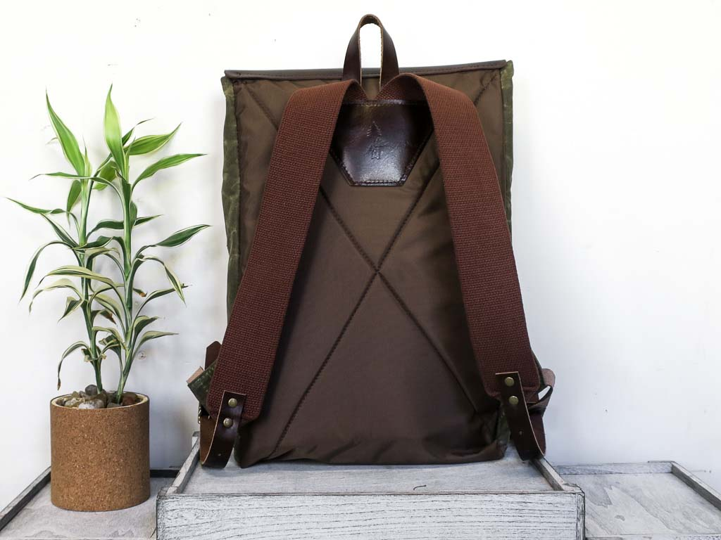 Uphill Designs - Potomac select waxed canvas and leather rucksack - navy blue - back