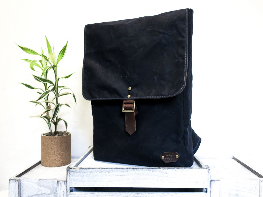 Uphill Designs - Potomac waxed canvas rucksack - navy - front