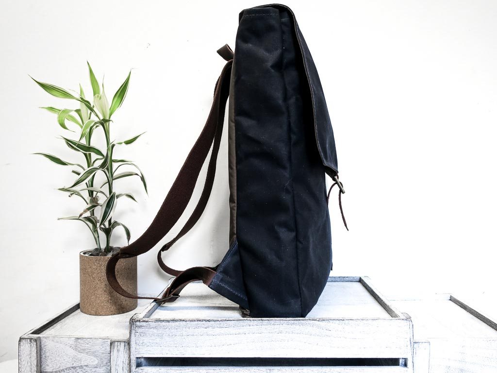 Uphill Designs - Potomac waxed canvas rucksack - navy - side