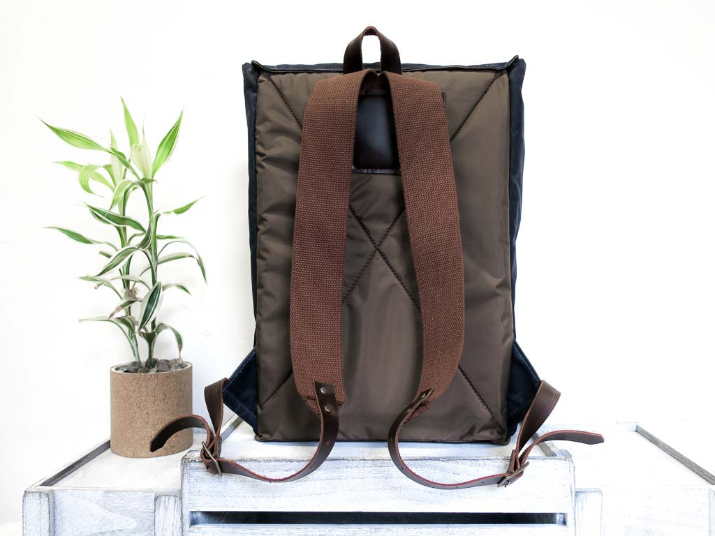 Uphill Designs - Potomac waxed canvas rucksack - navy - back