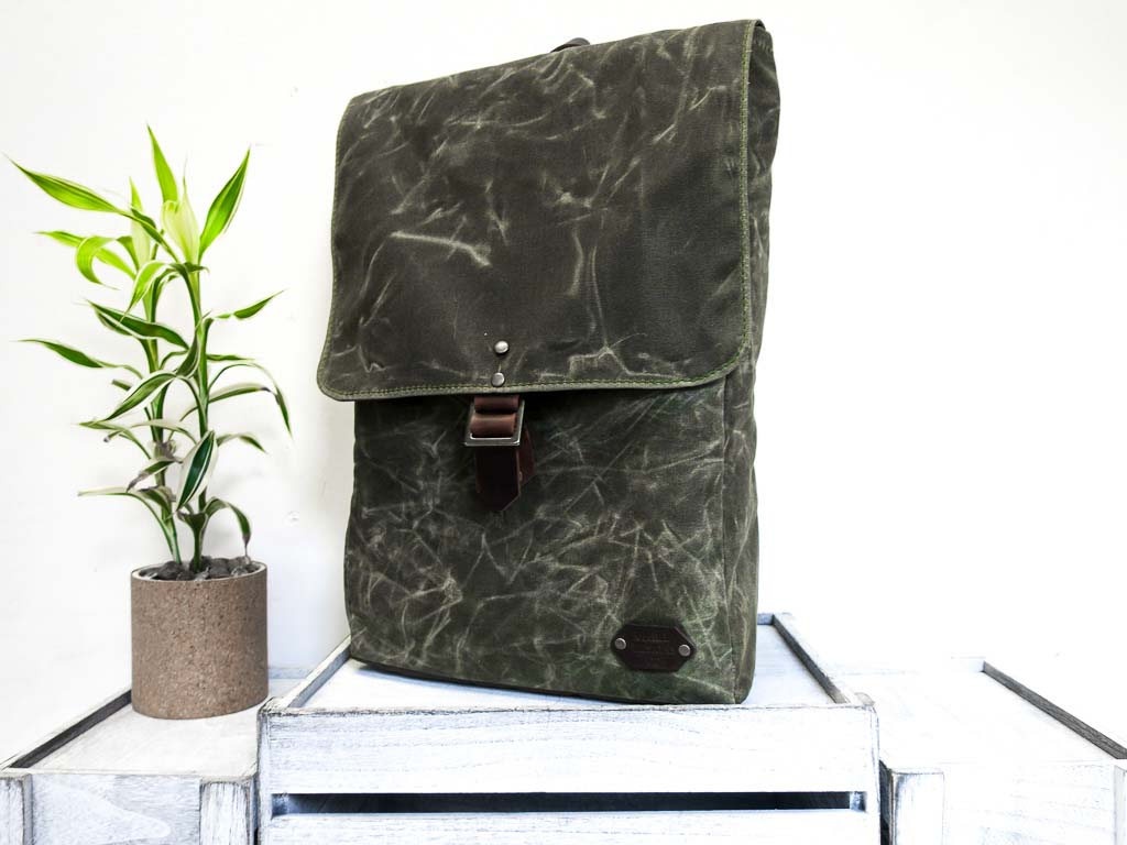 Uphill Designs - Potomac waxed canvas rucksack - olive - front